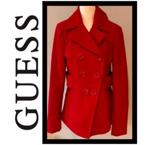 💄Guess Wool Blend Double Breasted Peacoat